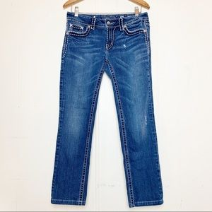Miss Me Skinny Distressed Embellished Flap Pocket